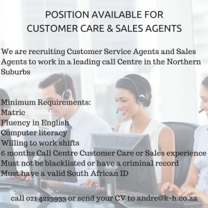Customer Care Amp Sales Agents Needed Call Centre Staffing